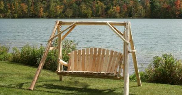 Yard With Regard To 2020 2 Person Natural Cedar Wood Outdoor Swings (View 4 of 20)