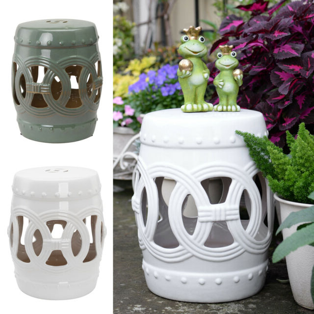 """14""""x18"""" Small Ceramic Outdoor Patio Knotted Rings Garden Stool End Table Regarding Trendy Ceramic Garden Stools (View 19 of 20)"""