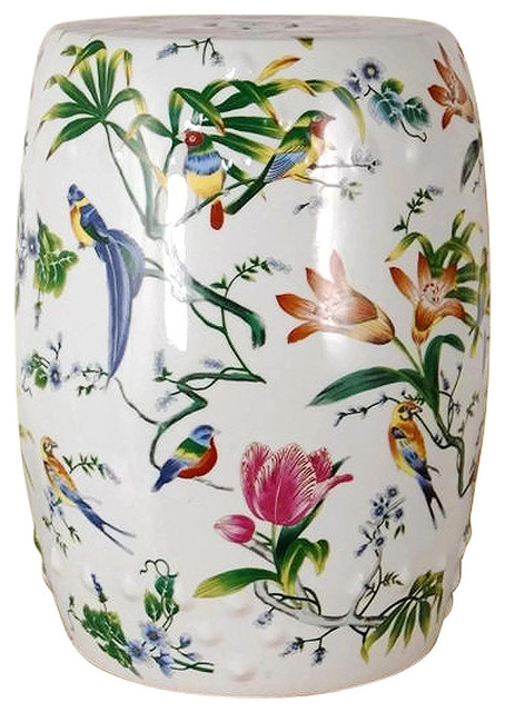 """2019 Chinese Multi Color Porcelain Bird Motif Round Garden Stool 18"""" For Williar Cherry Blossom Ceramic Garden Stools (View 7 of 20)"""