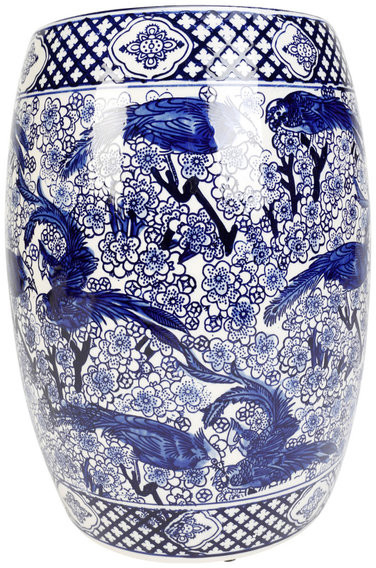 """2019 Orchard Creek Designs 18"""" Blue And White Ceramic Garden Stool Intended For Glendale Heights Birds And Butterflies Garden Stools (View 19 of 20)"""