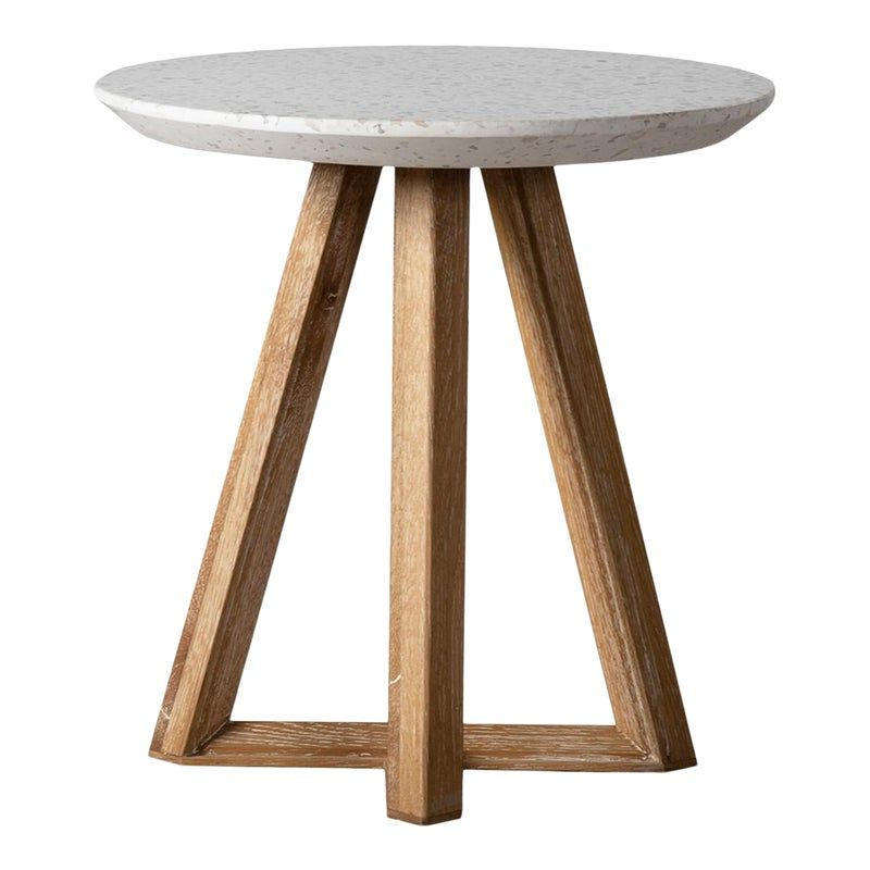 2019 Outdoor White Terrazzo & Oak End Table In (View 17 of 20)