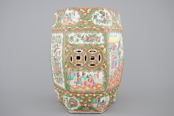 2020 Arista Ceramic Garden Stools For A Chinese Canton Famille Rose Medallion Hexagonal Garden (View 16 of 20)