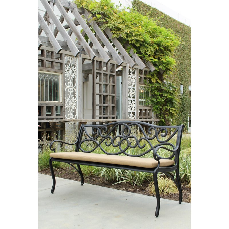 2020 Kain Classic Scroll Cast Aluminum Park Bench With Ismenia Checkered Outdoor Cast Aluminum Patio Garden Benches (View 10 of 20)