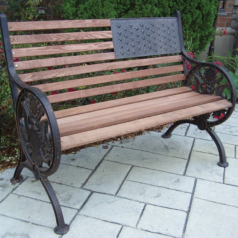 2020 Proud American Wooden/cast Iron Park Bench With Madeline Vintage Bird Cast Iron Garden Benches (View 6 of 20)