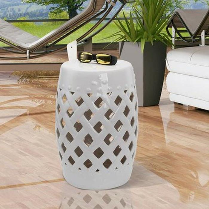 2020 Tillia Ceramic Lattice Garden Stool – Wayfair With Amettes Garden Stools (View 8 of 20)