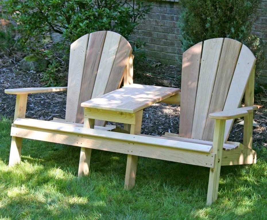 2020 Wicker Tete A Tete Benches Regarding Adirondack Style Tete A Tete – Cedar (View 20 of 20)