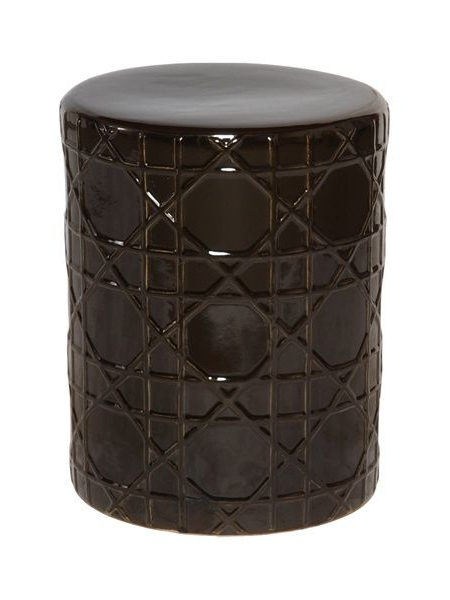 Aloysius Ceramic Garden Stools With Newest Black Ceramic Garden Stool In Cane Pattern (View 7 of 20)