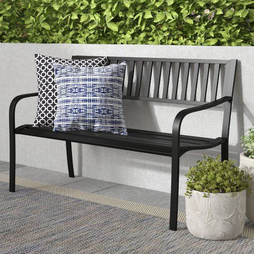 Alvah Slatted Cast Iron And Tubular Steel Garden Bench With Regard To Newest Alvah Slatted Cast Iron And Tubular Steel Garden Benches (View 4 of 20)