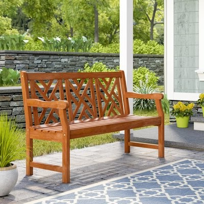 Amabel Wooden Garden Bench With Regard To Trendy Amabel Patio Diamond Wooden Garden Benches (View 11 of 20)