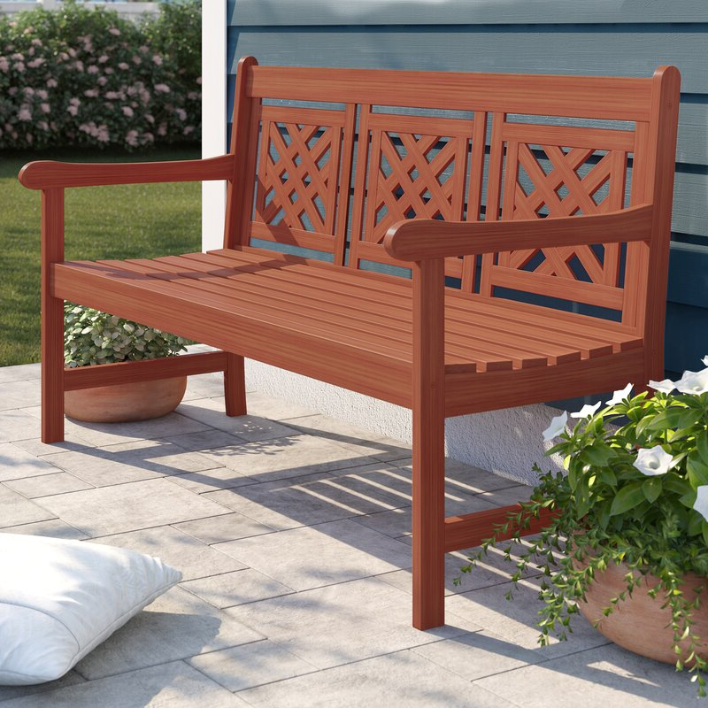 Amabel Wooden Garden Benches With Best And Newest Amabel Patio Plaid Wooden Garden Bench (View 6 of 20)