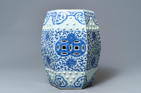 Arista Ceramic Garden Stools Regarding Well Liked A Hexagonal Chinese Blue And White 'lotus Scroll' Garden (View 14 of 20)