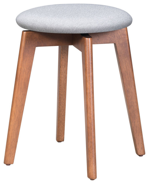 Best And Newest Bracey Garden Stools Intended For Indoor Billy Accent Stool With Walnut And Light Gray Finish (View 15 of 20)