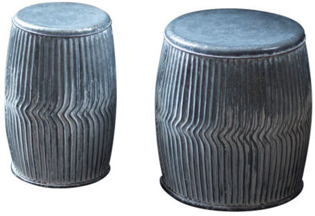 Best And Newest Helm Imperial Heavens Garden Stools Pertaining To S/2 Galvanized Dolly Stool Planters (View 6 of 20)