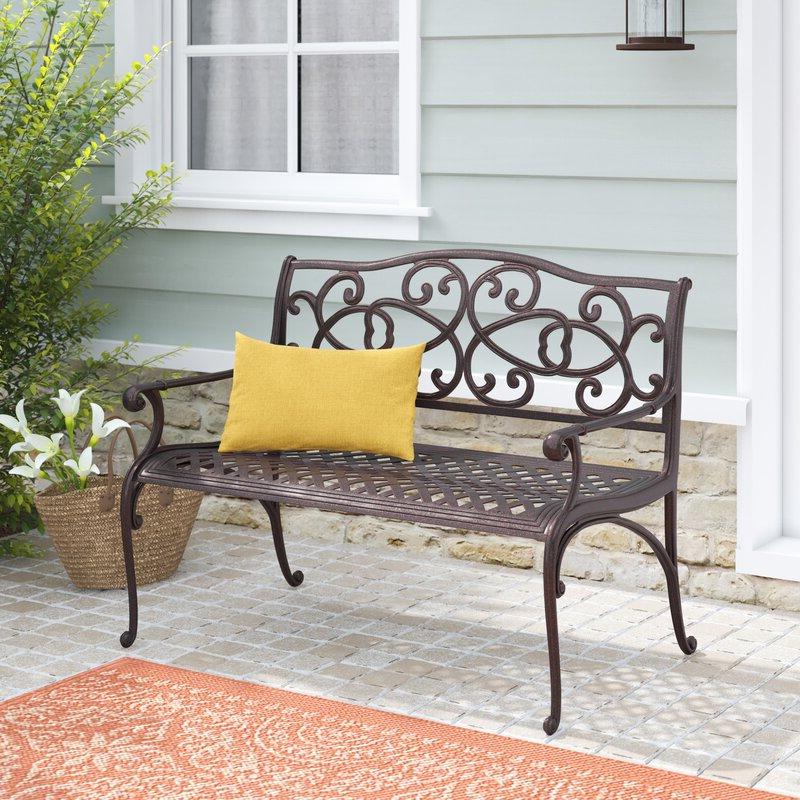 Best And Newest Montezuma Cast Aluminum Garden Benches Within Cesar Cast Aluminum Garden Bench (View 12 of 20)