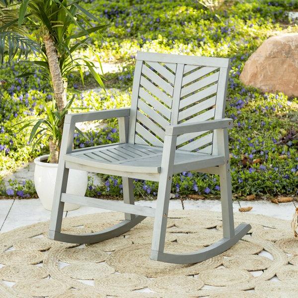 Best And Newest Skoog Chevron Wooden Garden Benches Pertaining To Skoog Outdoor Chevron Rocking Chair (View 12 of 20)