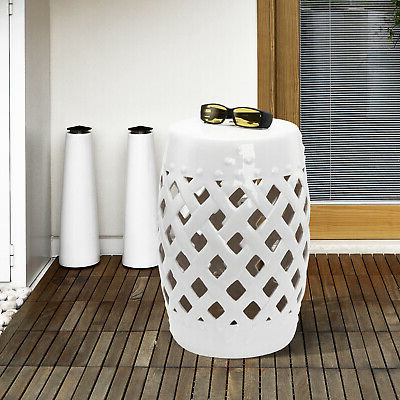 Best And Newest Standwood Metal Garden Stools For Outsunny Modern Ceramic Lattice Garden Stool Accent Table Decorative White (View 8 of 20)
