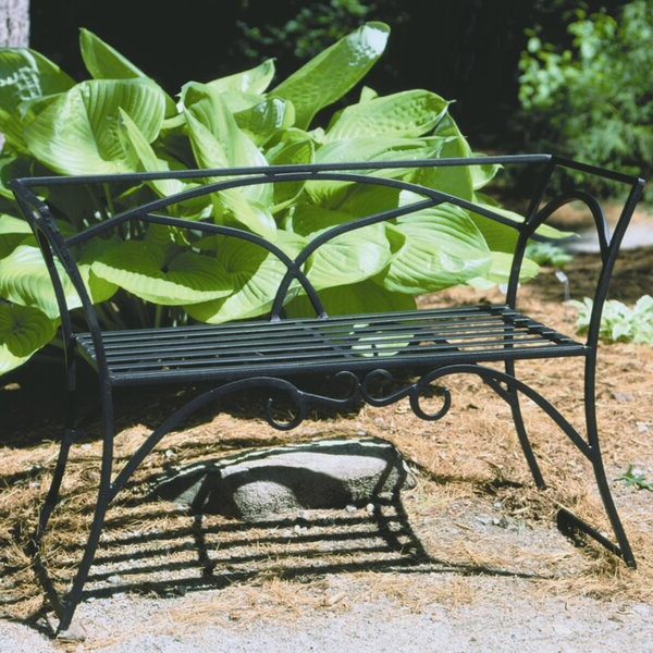 Black Wrought Iron Bench Inside Trendy Strasburg Blossoming Decorative Iron Garden Benches (View 12 of 20)