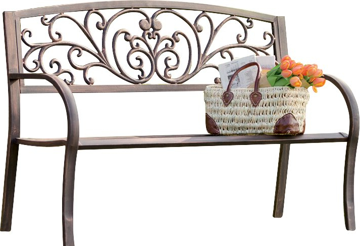 Blooming Iron Garden Bench Throughout Best And Newest Madeline Vintage Bird Cast Iron Garden Benches (View 5 of 20)