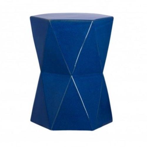 Blue Ceramic Geometric Design Garden Stool Accent Table Within 2019 Jadiel Ceramic Garden Stools (View 11 of 20)