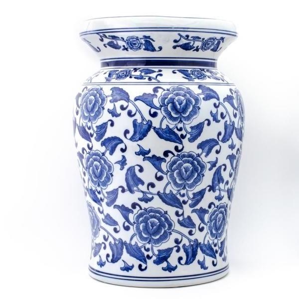 Blue Garden Begonia Podium Stool 32046 – The Home Depot In Within Well Known Williar Cherry Blossom Ceramic Garden Stools (View 12 of 20)