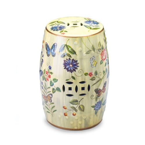 Brinley Garden Ceramic Stool Pertaining To Well Known Janke Floral Garden Stools (View 7 of 20)