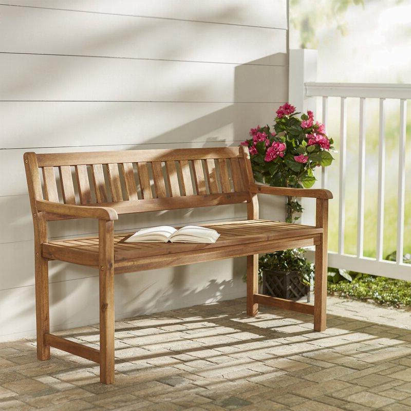 Bucksport Wooden Garden Bench Pertaining To Well Known Brecken Teak Garden Benches (View 5 of 20)