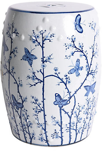 Butterfly Garden Stool – Blue/white Throughout Favorite Glendale Heights Birds And Butterflies Garden Stools (View 4 of 20)