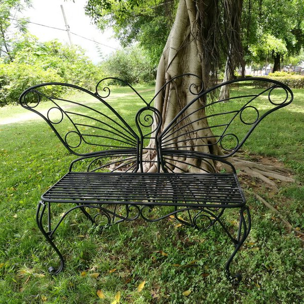 Butterfly Metal Garden Bench Throughout Fashionable Krystal Ergonomic Metal Garden Benches (View 7 of 20)