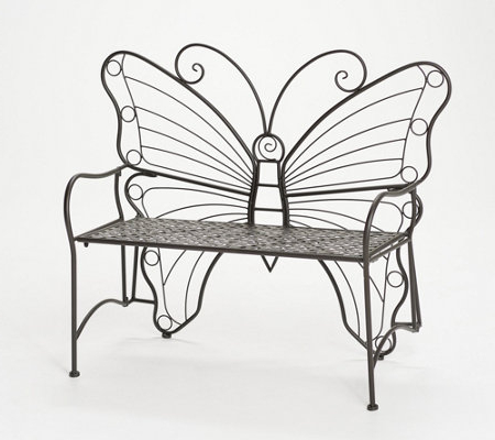 Caryn Colored Butterflies Metal Garden Benches Regarding Favorite Indoor/outdoor Metal Butterfly Garden Benchvalerie – Qvc (View 14 of 20)