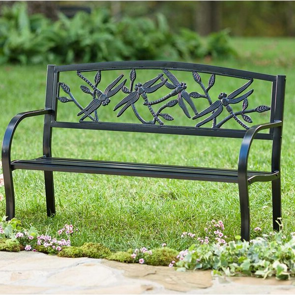 Cavin Garden Benches With Regard To Fashionable Dragonfly Metal Garden Bench (View 20 of 20)