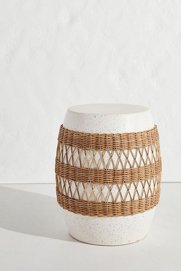 Ceramic Stool, Rattan Pertaining To Svendsen Ceramic Garden Stools (View 16 of 20)