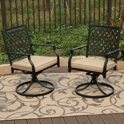 Charlton Homeâ® Stills Outdoor Metal Swivel Patio Dining Chair With Cushion Charlton Homea Within Best And Newest Caryn Colored Butterflies Metal Garden Benches (View 19 of 20)