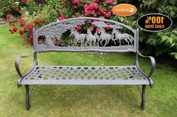 Current Tree Of Life Iron Garden Benches Inside Gardeco Cast Iron Garden Bench Horse And Tree Design (View 7 of 20)