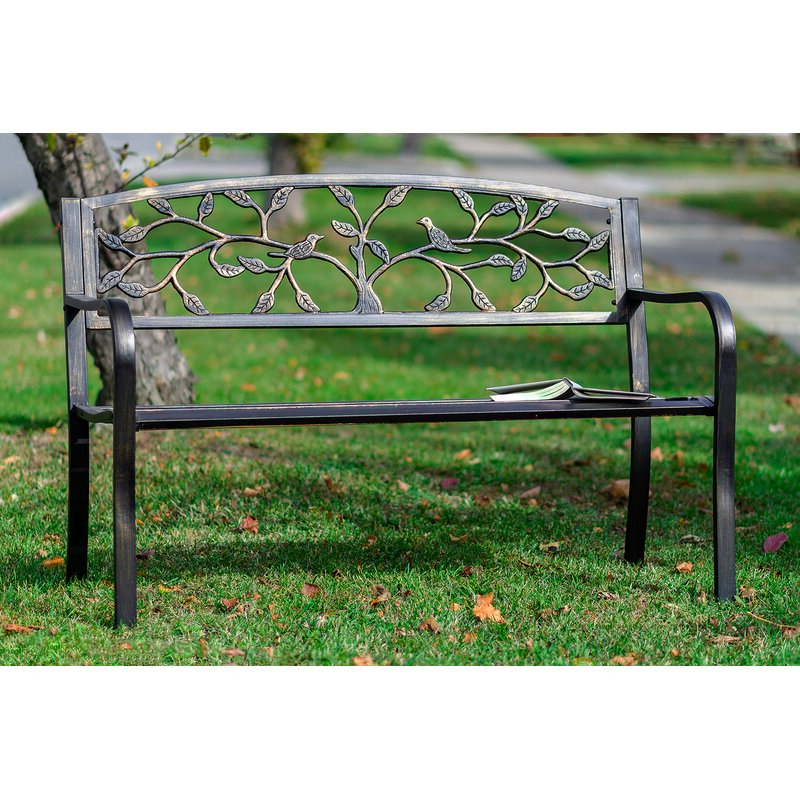 Current Zev Blue Fish Metal Garden Benches Throughout Sharpton Tree Metal Garden Bench (View 3 of 20)