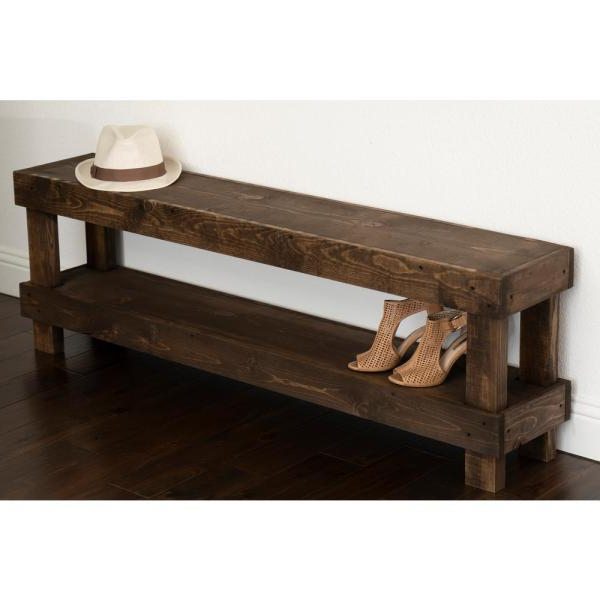 Del Hutson Designs Rustic Dark Walnut Contemporary Farmhouse With Well Known Walnut Solid Wood Garden Benches (View 10 of 20)