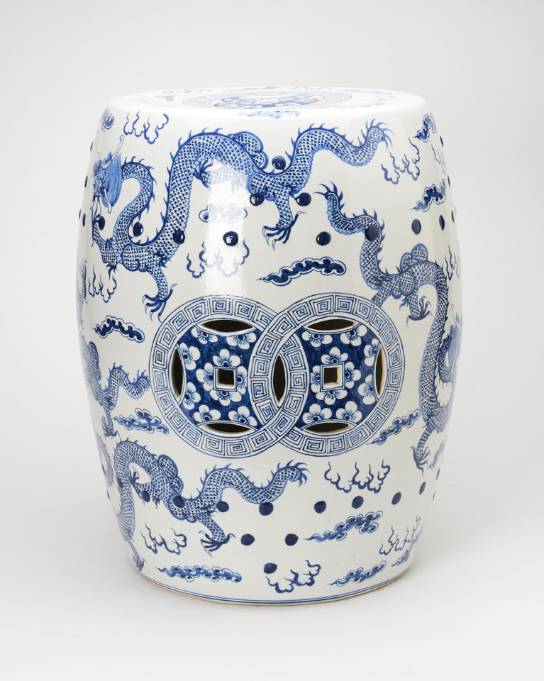 Dragon Garden Stools Regarding Well Known Sold – Blue And White Garden Stool With Images Of Dragons (View 12 of 20)