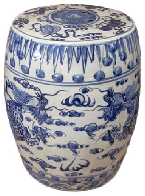 "Dragon Garden Stools Throughout Trendy Blue And White Porcelain Dragon Motif Garden Stool 19"" (View 13 of 20)"