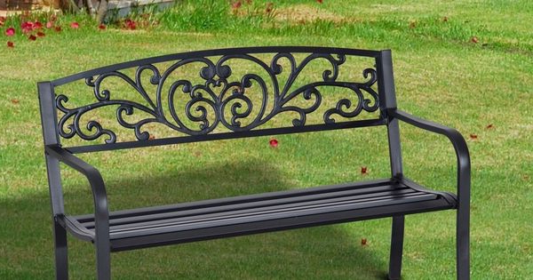 Famous Ismenia Checkered Outdoor Cast Aluminum Patio Garden Benches In Garden Patio Bench 2 Seater Cast Iron Tubular Steel Black (View 12 of 20)