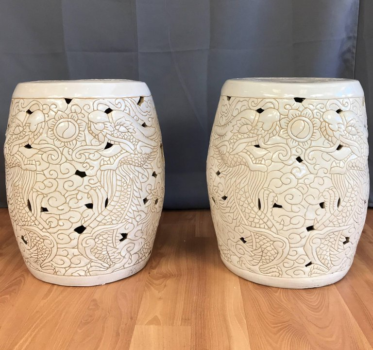 Famous Pair Of Vintage Chinese Dragon Motif White Ceramic Garden Inside Dragon Garden Stools (View 5 of 20)