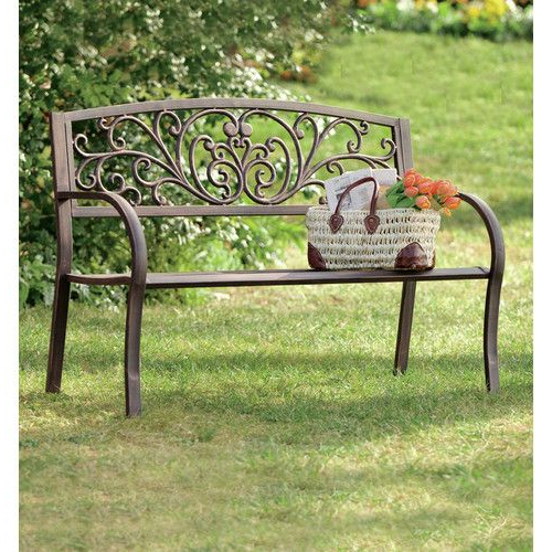 Fashionable Blooming Iron Garden Bench (View 4 of 20)