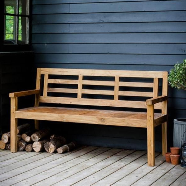 Fashionable Hampstead Teak Garden Benches Within Hampstead Outdoor Bamboo Armchairs (pair) (View 13 of 20)