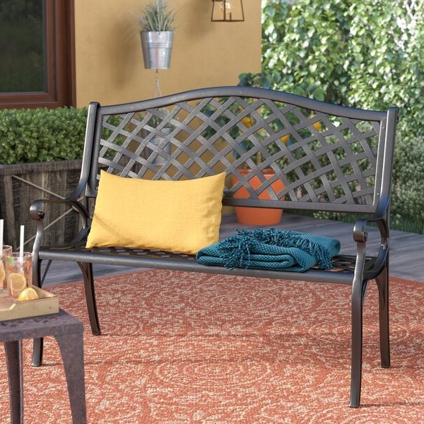 Fashionable Ismenia Checkered Outdoor Cast Aluminum Patio Garden Bench Intended For Ismenia Checkered Outdoor Cast Aluminum Patio Garden Benches (View 3 of 20)