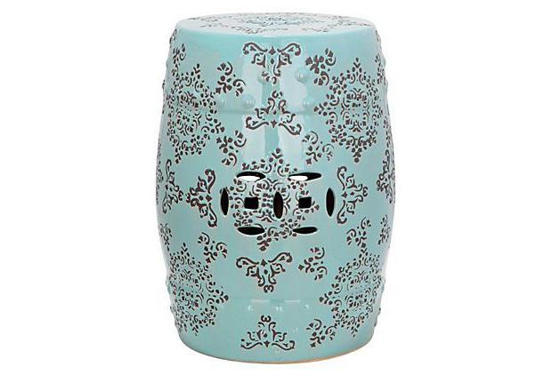 Favorite Chloe Ceramic Garden Stool, Aqua/gray On Onekingslane Throughout Kelston Ceramic Garden Stools (View 18 of 20)