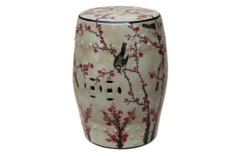 Favorite Maci Tropical Birds Garden Stools Inside Magpie Cherry Garden Stool, Beige/multi Now: $ (View 10 of 20)