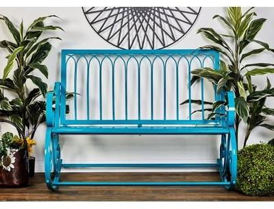 Favorite Zev Blue Fish Metal Garden Benches With Regard To Khadir Metal Garden Bench (View 12 of 20)