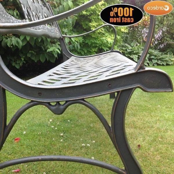 Gardeco Cast Iron Garden Bench Horse And Tree Design Intended For Most Up To Date Tree Of Life Iron Garden Benches (View 20 of 20)