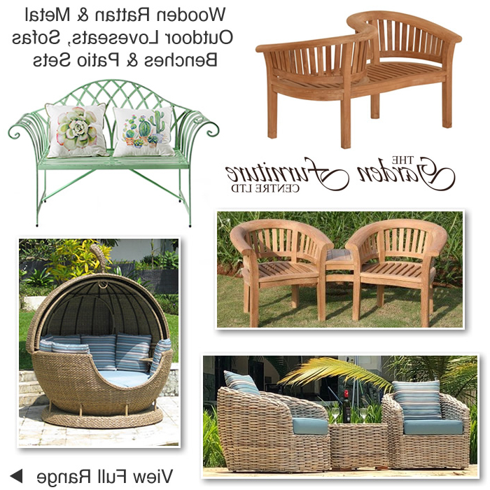Garden Loveseats Twin Companion Seats Bistro Sets Outdoor Intended For Fashionable Wicker Tete A Tete Benches (View 14 of 20)