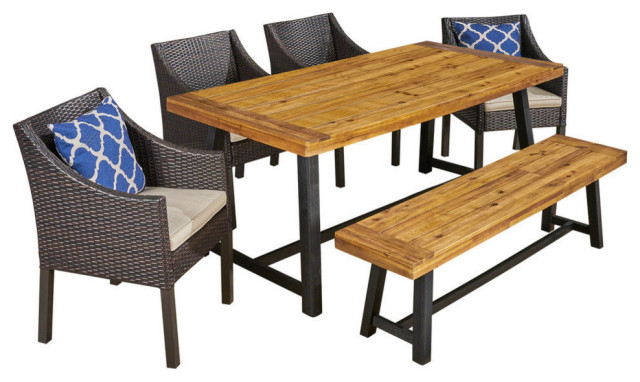 Gdf Studio 6 Piece Kane Outdoor Dining Set With Chairs And Bench, Teak Inside Well Known Brecken Teak Garden Benches (View 9 of 20)