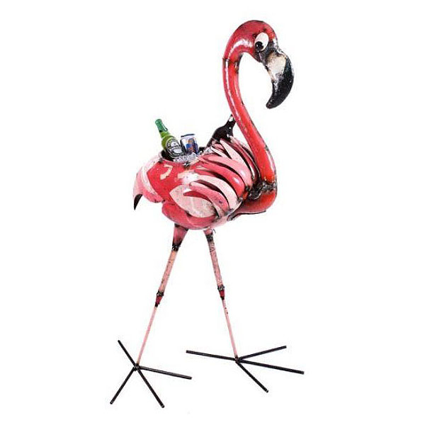 Giant Pink Flamingo Party Ice Bucket Drinks Cooler Garden Ornament –  Recycled Metal In Latest Flamingo Metal Garden Benches (View 11 of 20)