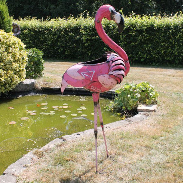 Giant Pink Flamingo Party Ice Bucket Drinks Cooler Garden Ornament –  Recycled Metal Intended For Most Recently Released Flamingo Metal Garden Benches (View 14 of 20)